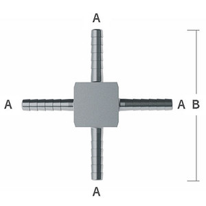 1/4 in. Hose Barbs x 2.30 in. OAL Barb Hose Crosses, 303/304 Stainless Steel Beverage Fitting