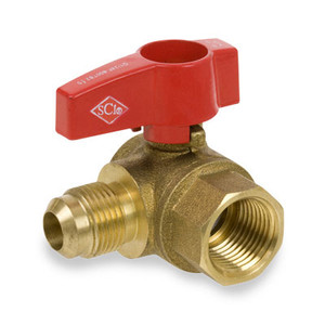 1/2 in. x 3/8 in. Forged Brass FIP x Flare Angled 2-Piece Gas Valve Series 235