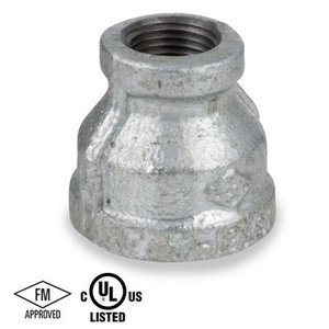 1/4 in. x 1/8 in. Reducing Coupling, Galvanized Malleable Iron 150#, NPT Threaded, UL/FM Pipe Fitting