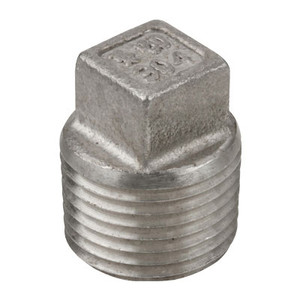 1/8 in. 1000# Stainless Steel Pipe Fitting Square Head Plug 304 SS NPT Threaded