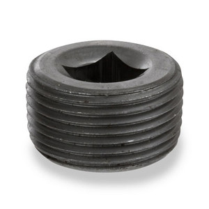 1/8 in. NPSC Threaded Black Steel Merchant Countersunk Square Plug 150# Pipe Fitting