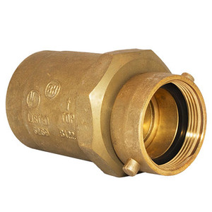 """NST: 2-1/2"""" Swivel x 3"""" FNPT (Rough Brass) Check Snoot for Multiple Inlet Fire Department Connections"""