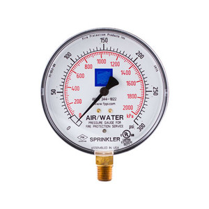 Fire Sprinkler Air-Water Gauge, 0-300psi, cULus/FM