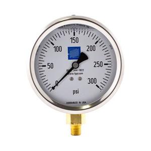 Fire Sprinkler Pressure Gauge, Liquid Filled, 0-300 PSI