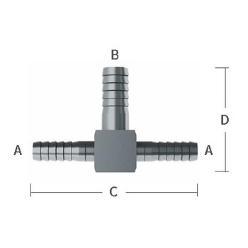 1/4 in. x 1/2 in. Enlarging Barb Hose Tees 303/304 Combination Stainless Steel Beverage Fitting