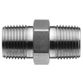 1/8 in. x 1/8 in. Threaded NPT Hex Nipple 4500 PSI 316 Stainless Steel High Pressure Fittings PSIG=9100 (4027-M-HEX)