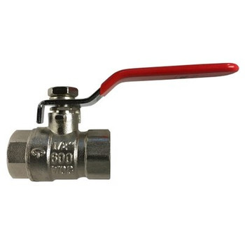 1-1/4 in. 600 WOG Full Port Ball Valve, Nickel Plated Forged Brass Body, WSP 150 PSI, PTFE Ball Seats, Steel Handle