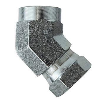 1 in. Female NPT x 1 in. Female NPSM Steel Female 45 Degree Union Elbow Swivel Hydraulic Adapter