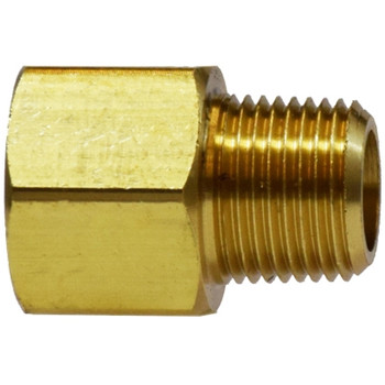 1/4 in. x 1/4 in. Extender Adapter, FIP x MIP, NPTF Threads, SAE 130139, Light Pattern, Brass, Pipe Fitting