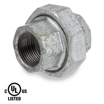 2 in. Galvanized Pipe Fitting 300# Malleable Iron Threaded Union, UL Listed