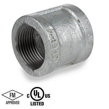 2 in. Galvanized Pipe Fitting 150# Malleable Iron Threaded Banded Coupling, UL/FM