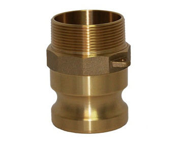 6 in. Type F Adapter - Brass Cam and Groove Male Adapter x Male NPT Thread