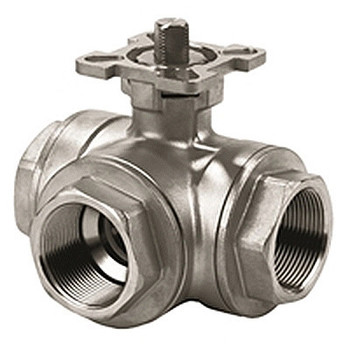1/2 in. NPT Threaded - 1000 WOG - 316 Stainless Steel 3 Way T Port Ball Valves