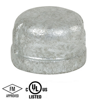 2 in. Galvanized Pipe Fitting 150# Malleable Iron Threaded Cap, UL/FM