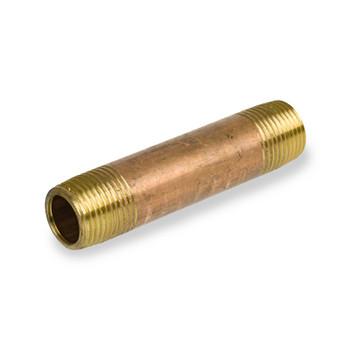 4 in. x 8 in. Brass Pipe Nipple, NPT Threads, Lead Free, Schedule 40 Pipe Nipples & Fittings