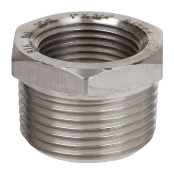 1 in. x 3/8 in. Threaded NPT Hex Bushing 304/304L 3000LB Stainless Steel Pipe Fitting