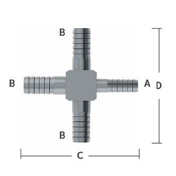 1/4 in. x 3/8 in. Enlarging Barb Hose Cross Stainless Steel Beverage Fitting