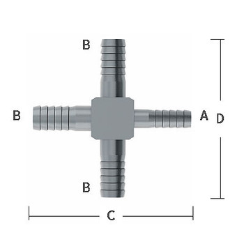 1/4 in. x 3/8 in. Enlarging Barb Hose Cross Stainless Steel Beverage Fitting