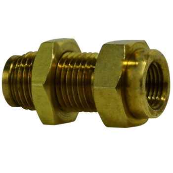 3/8 in. Tube OD x 1/4 in. Female NPTF, Push-In Female Bulkhead Union, Brass Push-to-Connect Fitting