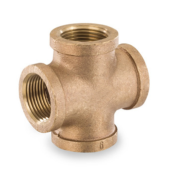 3/8 in. Threaded NPT Cross, 125 PSI, Lead Free Brass Pipe Fitting