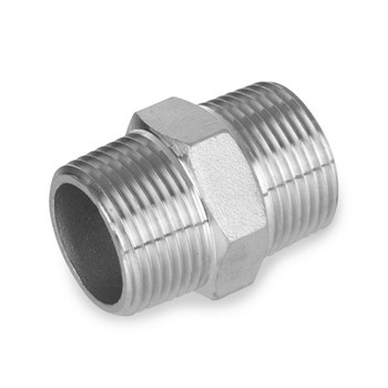 3/8 in. Stainless Steel Pipe Fitting Hex Nipple 316 SS Threaded NPT