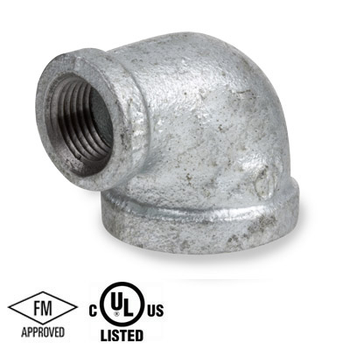 2 in. x 1 in. Galvanized Pipe Fitting 150# Malleable Iron Threaded 90 Degree Reducing Elbow, UL/FM