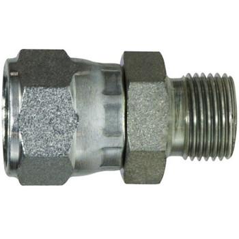 7/16-20 x 1/4-19 FJIC x MBSPP Straight Swivel Steel Hydraulic Adapter