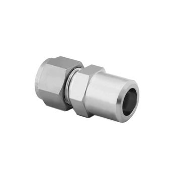 3/8 in. Tube x 1/4 in. Weld - Male Pipe Weld Connector - Double Ferrule - 316 Stainless Steel Tube Fitting