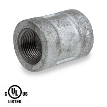 3 in. Galvanized Pipe Fitting 300# Malleable Iron Banded Coupling, UL Listed