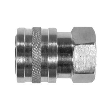 1/4 in. Female Stainless Steel Coupler, Straight Through Style, Pneumatic Quick Disconnect, 6000 PSI