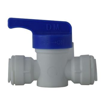 1/4 in. OD Shut Off Valve, PL x PL, Polypropylene Plastic Push In Tube Fitting