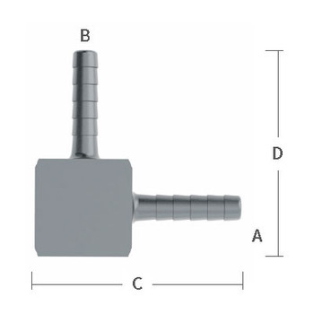 5/16 in. x 3/8 in. Welded Barb Elbow Stainless Steel Beverage Fitting