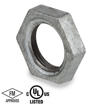 2 in. Galvanized Pipe Fitting 150# Malleable Iron Threaded Lock Nut, UL/FM