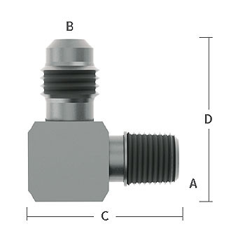 3/8 in. MNPT x 1/4 in. (7/16-20) Male Flare Adapter Elbow, 303/304 Comb. Stainless Steel Beverage Fitting