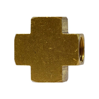 1/4 in. Female Cross, NPTF Threads, Up to 1200 PSI, Brass, Pipe Fitting