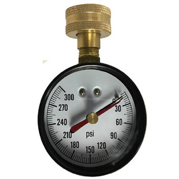 2-1/2 in. Water Test Gauge, 0-300 PSI Dial, 3/4 in. Female Hose Connection with Lazy Hand (Maximum Pointer)