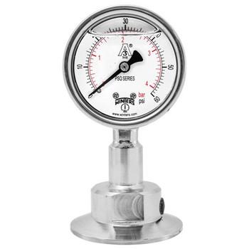 4 in. Dial, 1.5 in. BTM Seal, Range: 0/30 in.VAC/BAR, PSQ 3A All-Purpose Quality Sanitary Gauge, 4 in. Dial, 1.5 in. Tri, Bottom