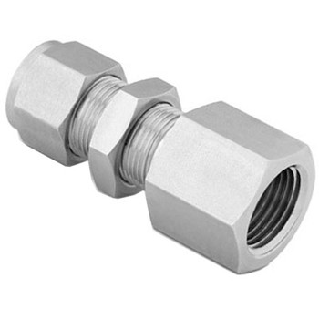 1/2 in. Tube x 1/2 in. NPT - Bulkhead Female Connector - Double Ferrule - 316 Stainless Steel Compression Tube Fitting