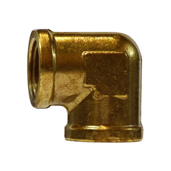 1/2 In. 90 Degree Female Elbow, FIP x FIP, Up to 1200 PSI, Forged Brass, NPTF Threads, Brass Pipe Fitting