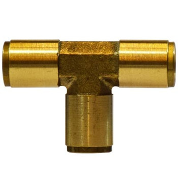 1/8 in. Tube OD, Push-In Union Tee, Brass Push to Connect Fittings
