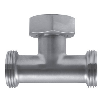3 in. 7A Tee With Hex Nut (3A) 304 Stainless Steel Bevel Seat Sanitary Fitting