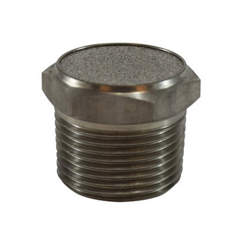 3/8 in. Stainless Steel Breather Vent, 303 Body, 316 Element, Max Operating Pressure: 150 PSI, Pneumatic Accessories