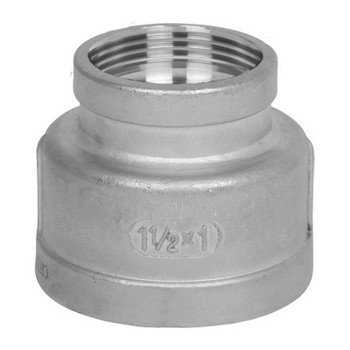 1-1/2 in.  x 1/2 in. Reducing Coupling - NPT Threaded 150# 316 Stainless Steel Pipe Fitting