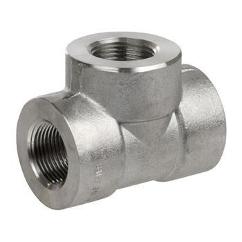 1 in. x 3/8 in. Threaded NPT Reducing Tee 316/316L 3000LB Stainless Steel Pipe Fitting