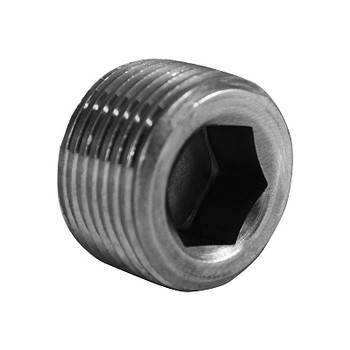 1/4 in. Countersunk Hex Socket Plug, NPT Threaded, Class 150#, Barstock 316 Stainless Steel Pipe Fitting