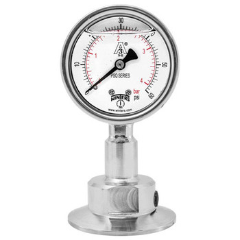 2.5 in. Dial, 1.5 in. BTM Seal, Range: 30/0/100 PSI/BAR, PSQ 3A All-Purpose Quality Sanitary Gauge, 2.5 in. Dial, 1.5 in. Tri, Bottom