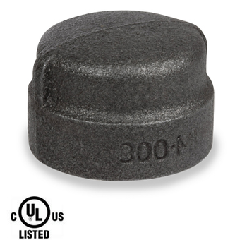1-1/2 in. Black Pipe Fitting 300# Malleable Iron Threaded Cap, UL