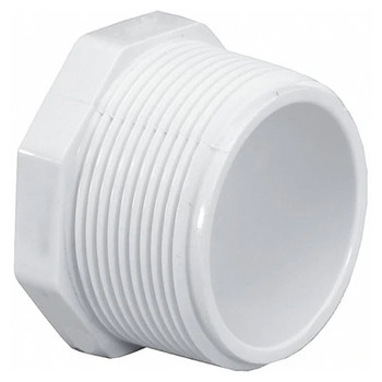 2 in. PVC Threaded Plug, PVC Schedule 40 Pipe Fitting, NSF 61 Certified