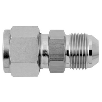 1/8 in. Tube x 1/4 in. Tube AN Union - Double Ferrule - 316 Stainless Steel Tube Compression Fitting