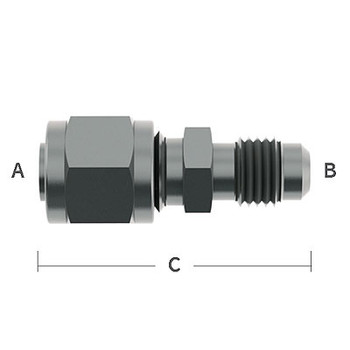 1/4 in. OD Tube Compression x 1/4 in. Male Flare, 303 Stainless Steel Beverage Fitting